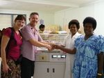 Humidicrib handed over by Dr Sace and Anthea to Luganville Hospital