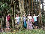 Anthea, Lois, Janet, Jess and Amy in the roots of a banyan tree